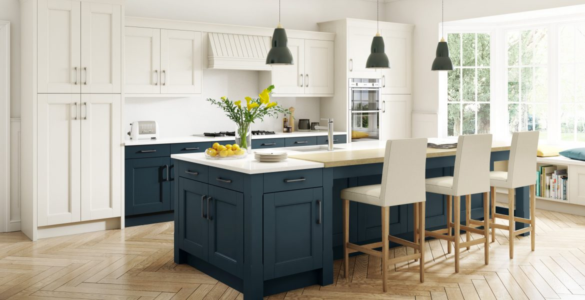 Stately Shaker Painted Ivory & Oxford Blue